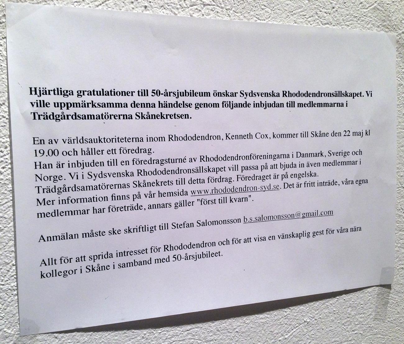 Gratulationer från Sydsvenska Rhododendronsällskapet