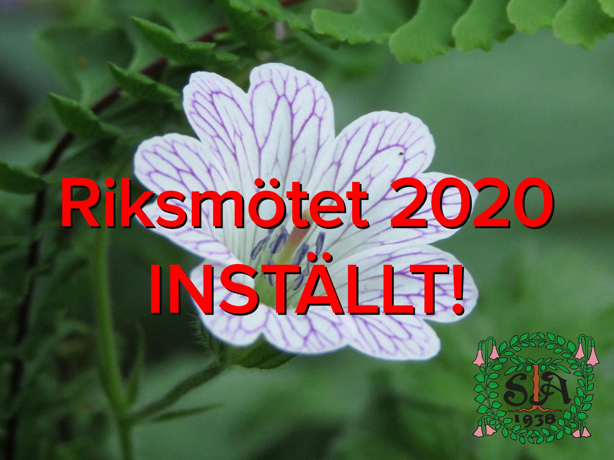 Riksmötet 2020 INSTÄLLT